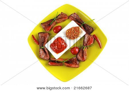 served meat slices on green dish with spices