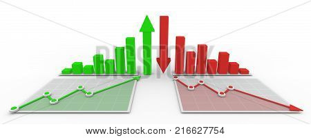 Business succes and failure 3d graph and diagram