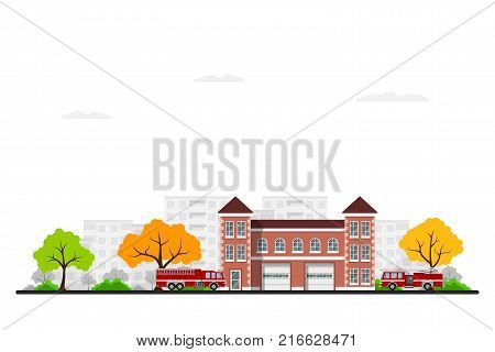 Picture of fire station with fire trucks, trees and city sillhouette on background. Flat style illustration.