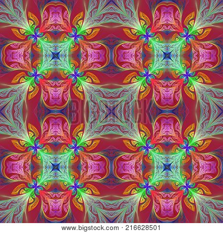Multicolored seamless flower pattern in stained-glass window style. You can use it for invitations notebook covers phone case postcards cards wallpapers and so on. Artwork for creative design art and entertainment.