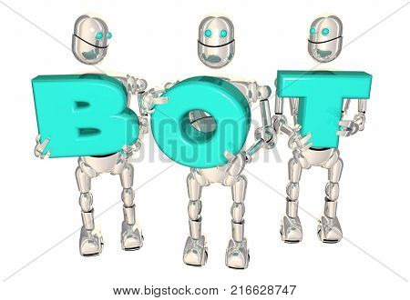 Bot Word Robots Carrying Letters Word AI 3d Illustration