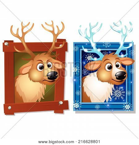 Wall-mounted picture in a wooden frame with deer isolated on a white background. Sketch of Christmas festive poster, party invitation, other holiday card. Vector cartoon close-up illustration.