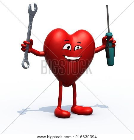 Human Heart With Arms, Legs, Face And Tools On Hands