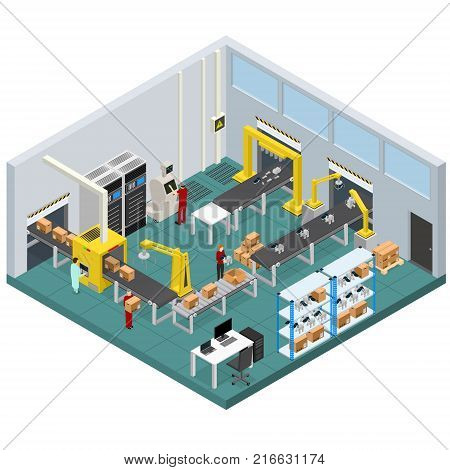 Conveyor Belt Line Factory Interior with Isometric View Automatic Production Packaging Work Technology Assembly Machine Operations. Vector illustration