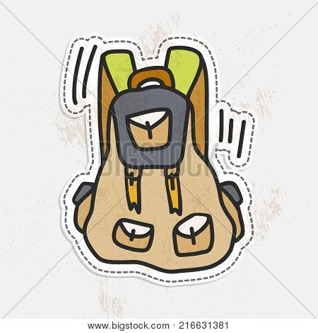 Colorful camping hand draw backpack. Tourist retro back pack vector illustration. Classic styled hiking backpack with light vintage texture, sticker style. Sketched Camp and hike bag and knapsack, cartoon illustration