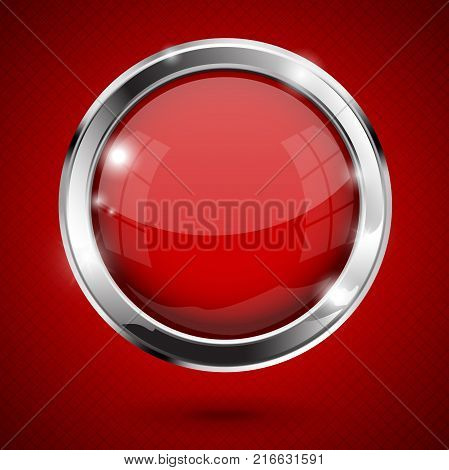 Red shiny button. Round glass web icon. Vector 3d illustration on red background