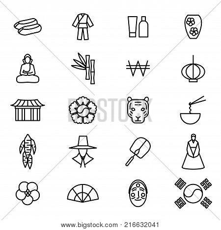 Korea Travel and Tourism Black Thin Line Icon Set Include of Bibimbap, Buddha, Hanbok and Gyeongbokgung. Vector illustration