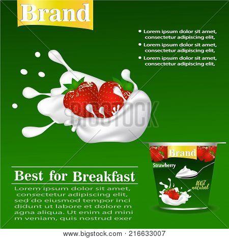 strawberry flavor yogurt ad, with milk splashing and strawberry elements, 3d illustration