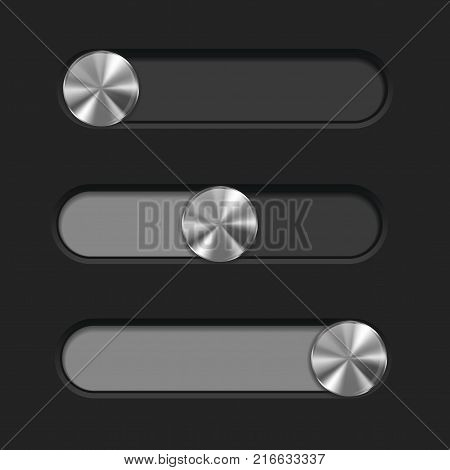 Web interface slider. User interface control bar on dark background. Vector illustration