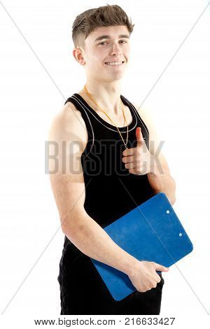 Teenage personal trainer giving positive gestures isolated on white background