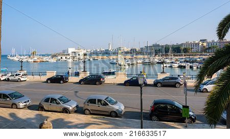 Bari Italy - September 02 2016: Panoramic view of port in Bari the capital city of Apulia region in southern Italy