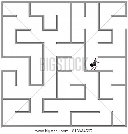Businesswoman trying to escape from maze labyrinth