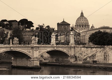 River Tiber and St Peters Basilica in Vatican City in black and white