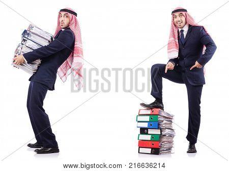 Arab businessman with many folders on white