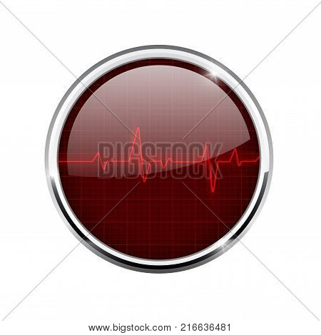 Electrocardiogram sign. Red waves. Round 3d icon with chrome frame. Vector illustration isolated on white background