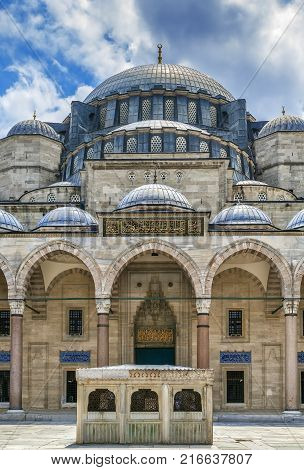 The Suleymaniye Mosque is an Ottoman imperial mosque. It is the largest mosque in Istanbul Turkeyl. View from Courtyard