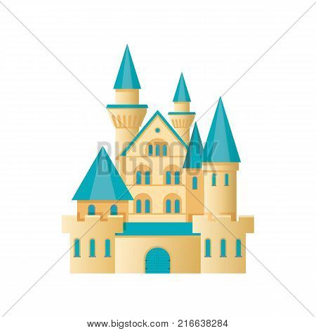 Castle fortress, citadel building. Children's entertainment playground, recreation park. Medieval stone fortress. Place for children's games. Amusement park. Vector flat illustration.