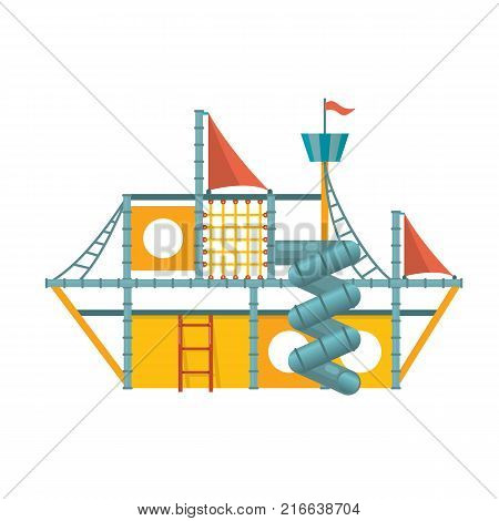 Kids games. Children's entertainment complex in the form of a ship with stairs, slides, inflatable attractions, recreation park. Place for children's games. Amusement park. Vector flat illustration.