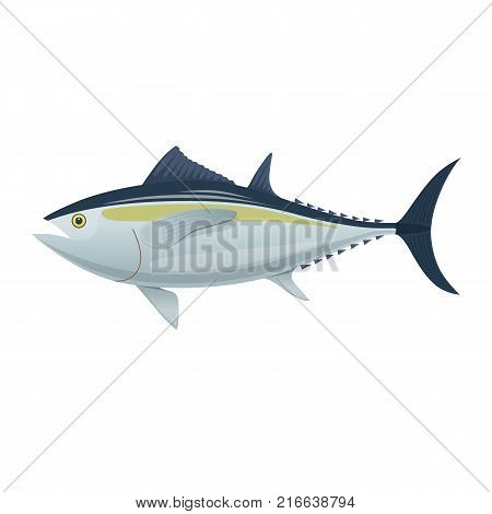 Sea fish. Colorful fish of sea tuna. Fish and shellfish, eating, delicious menu, market fish to around the world. Vector flat illustration.