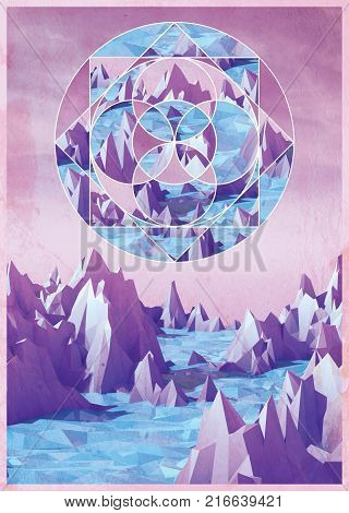 Geometric Collage of a Low poly mountains landscape with water. 3d render image for graphic design.
