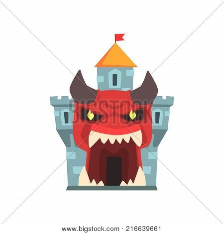Tower of terror or horror fortress. Entrance to castle in form of giant red monster face with horns and big teeth. Amusement park icon. Family attraction. Flat vector design for poster, banner, flyer.