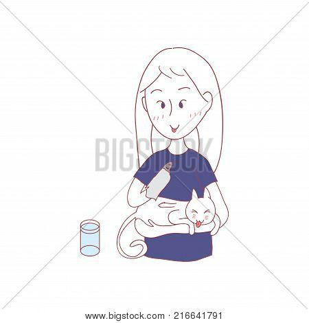Girl and Cat Grooming for each others. I love you in Cat Language. Vector Illustration. isolated on white background.