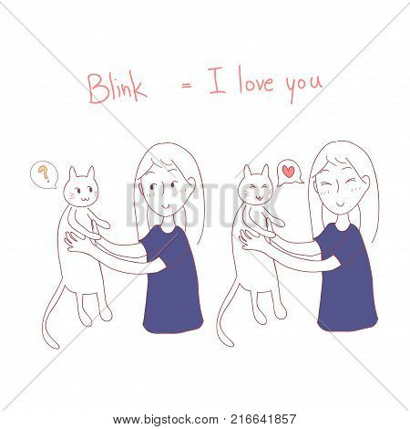 Girl Blinking at Cat. I love you in Cat Language. Vector Illustration. isolated on white background.