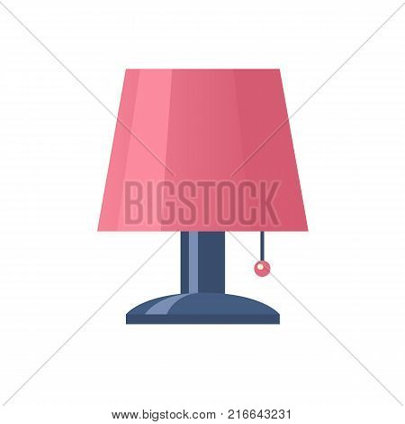 Night light, lamp. The interior and lighting of the room in the apartment. Time for sleep and rest. Home, comfortable furnishings and interior, a place to relax. Vector flat illustration.