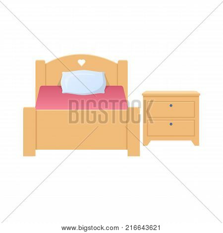 Time for sleep and rest. Bed, bed with blanket and pillow. Bedside table, chest of drawers with drawers. Home, comfortable furnishings and interior, a place to relax. Vector flat illustration.