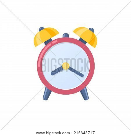 Alarm clock icon, wake-up time in school and at work. Clock silhouette, logotype. Daily time, control and management of the daily routine. Vector flat illustration.