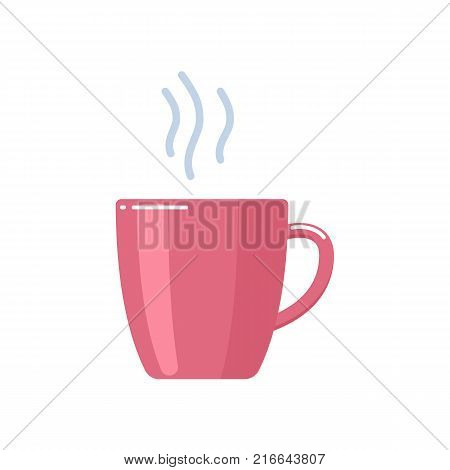 Cup of delicious sweet hot tea with sugar, a fragrant strong drink, an evening tea party and a nightcap. Time for rest and relaxation. Vector flat illustration.