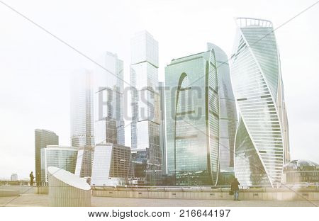 Skyscraper office building  Moscow city complex. Urban futuristic toned photo. Corporate building. Business technology. Corporation modern city architecture background.