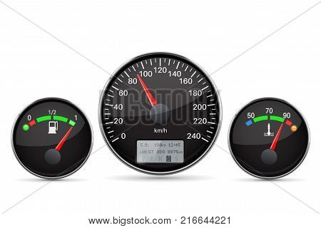 Car dashboard. Speedometer, fuel and temperature gauge. Vector 3d illustration isolated on white background