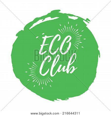 Eco club. Healthy Lifestyle badges. Vector illustration icon with Sunburst.