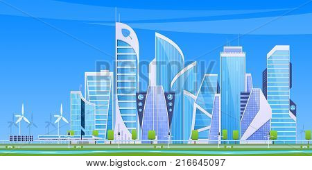 Eco friendly and smart city, cityscape, urban landscape. Set of city buildings, high-rise, skyscrapers, business centers. Real estate urban architecture, solar batteries. Vector flat illustration.
