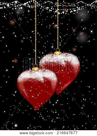 3D Illustration of Heart Shaped Christmas Baubles with Golden Chains and Snow Over Black Festive Decorated Background with Snowflakes and Stars