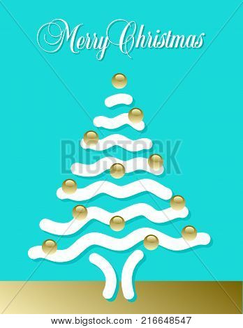 Abstract Merry Christmas tree made with wavy white snow for print or web use