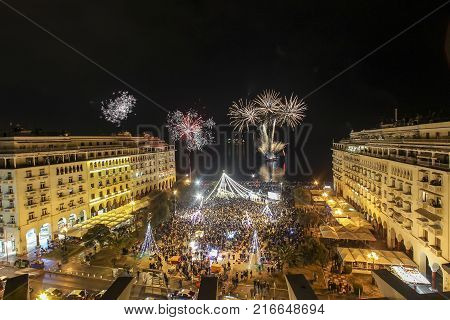 Aristotle's Square In Thessaloniki  During New Year Celebrations With Fantastic Multi-colored Firewo