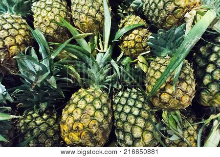 Pineapple piles on background.Pineapple piles on background.