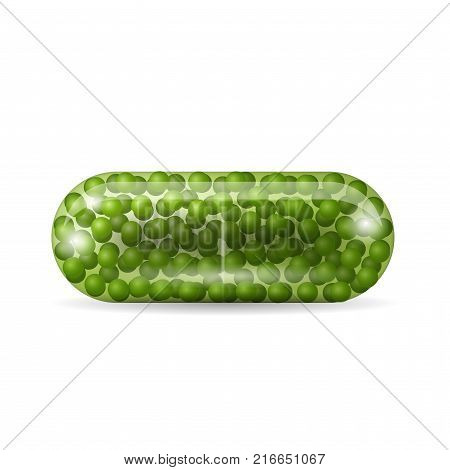 Capsule pill isolated on the white background. Tablet in caplet form with green granules inside it. Medicine and drugs realistic vector illustration.