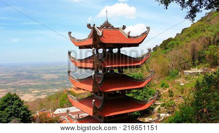 Pagoda of Nirvana Buddha on Ta Cu mountain in Vietnam It was formed on October 26 1996 in Tan Lap commune Ham Thuan Nam district about 30 km South East of Phan thiet.