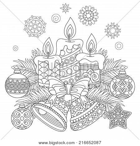 christmas coloring page holiday decorations hanging balls candles jingle bells vintage snowflakes freehand sketch