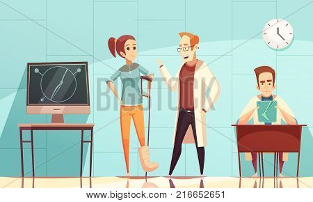 Young woman in consulting room of orthopedist doctor cartoon vector illustration