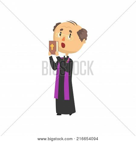 Priest character people with bible book, catholic preacher blessing, holy father in robe cartoon vector illustration isolated on a white background