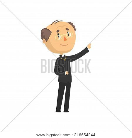 Priest character blessing people, catholic preacher, holy father cartoon vector illustration isolated on a white background