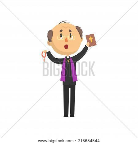 Priest character standing with bible book and rosary, catholic preacher, holy father in robe cartoon vector illustration isolated on a white background
