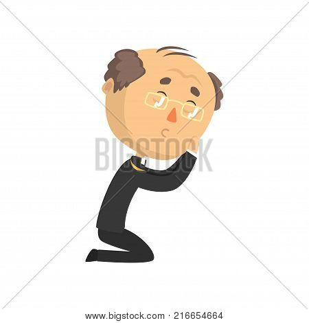Humble mature priest character kneeling down and praying, catholic preacher, holy father in robe cartoon vector illustration isolated on a white background