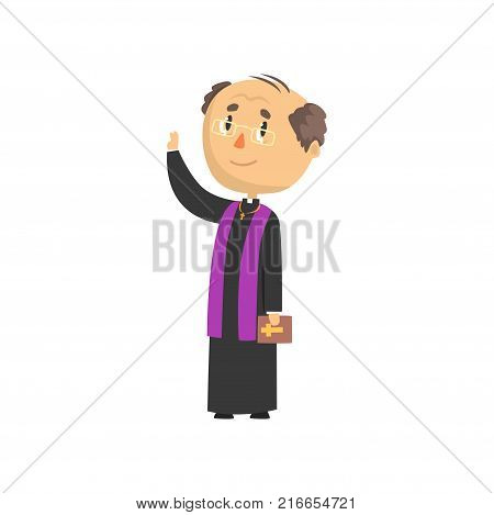 Mature priest character blessing people, catholic preacher, holy father in robe cartoon vector illustration isolated on a white background