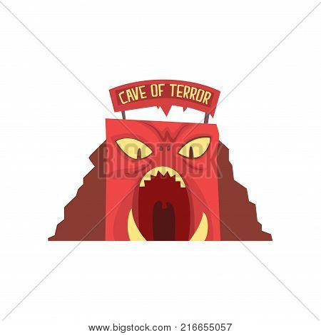 Cave of terror icon in form of red monster's face with large teeth and big signboard with text. Amusement park or carnival. Entertainment industry. Cartoon flat vector illustration isolated on white.