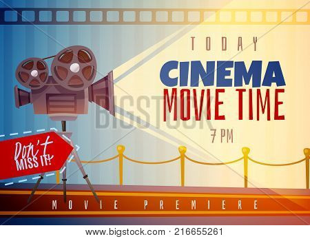 Cinema horizontal poster on blue striped background with reels on video camera and light ray vector illustration